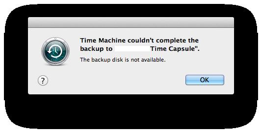 time machine error codes
